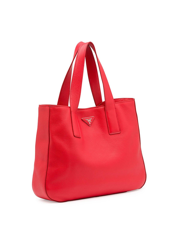 prada red bag - Prada Vitello Daino Leather Tote Bag in Red (LACCA)   Lyst