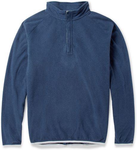 Peter millar zip collar fleece golf sweatshirt in blue for for Peter millar golf shirts
