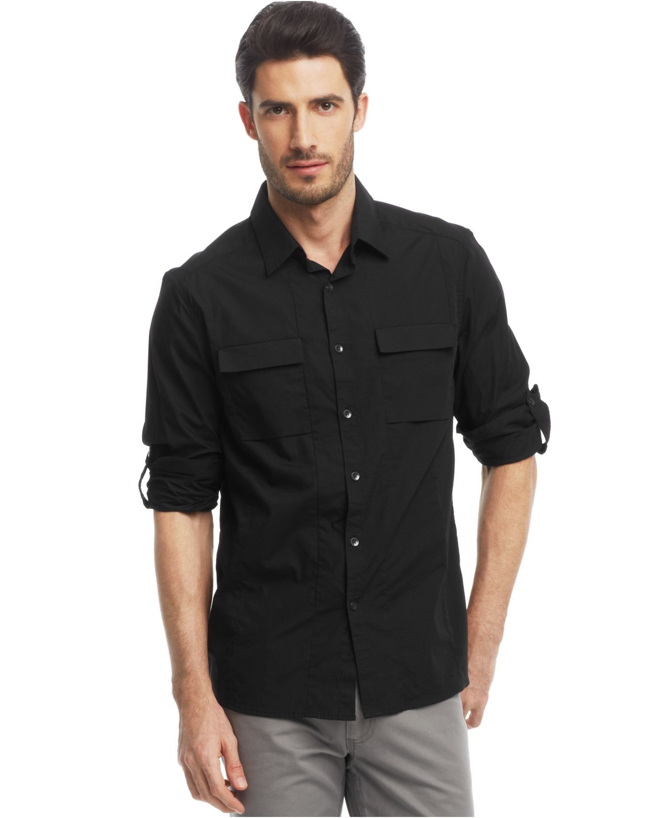 Lyst kenneth cole reaction core novelty roll tab shirt for Men s roll tab sleeve shirts