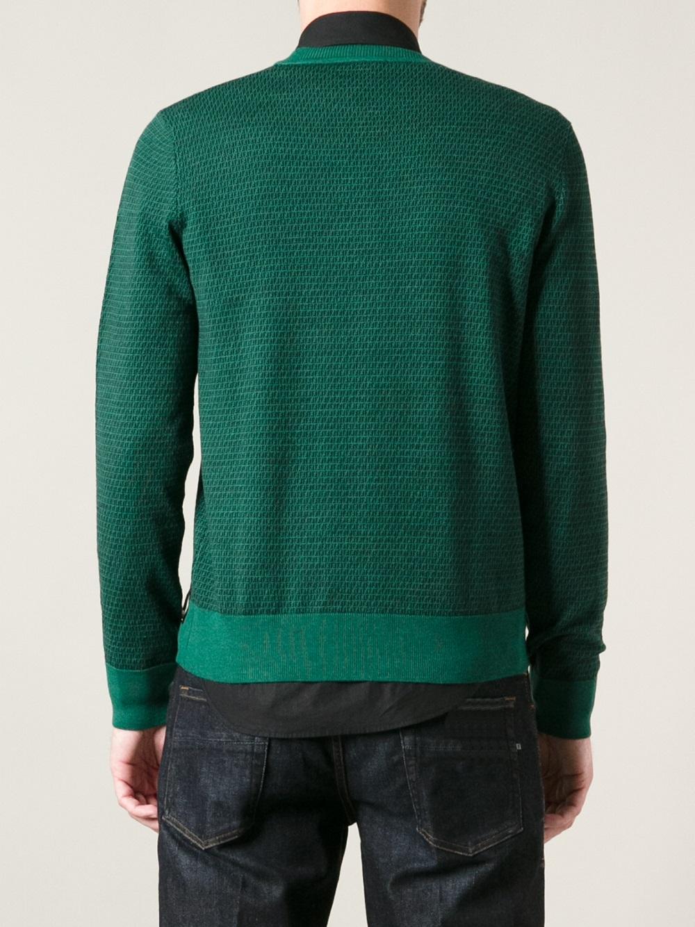 Lyst Fendi Monogram Sweater In Green For Men