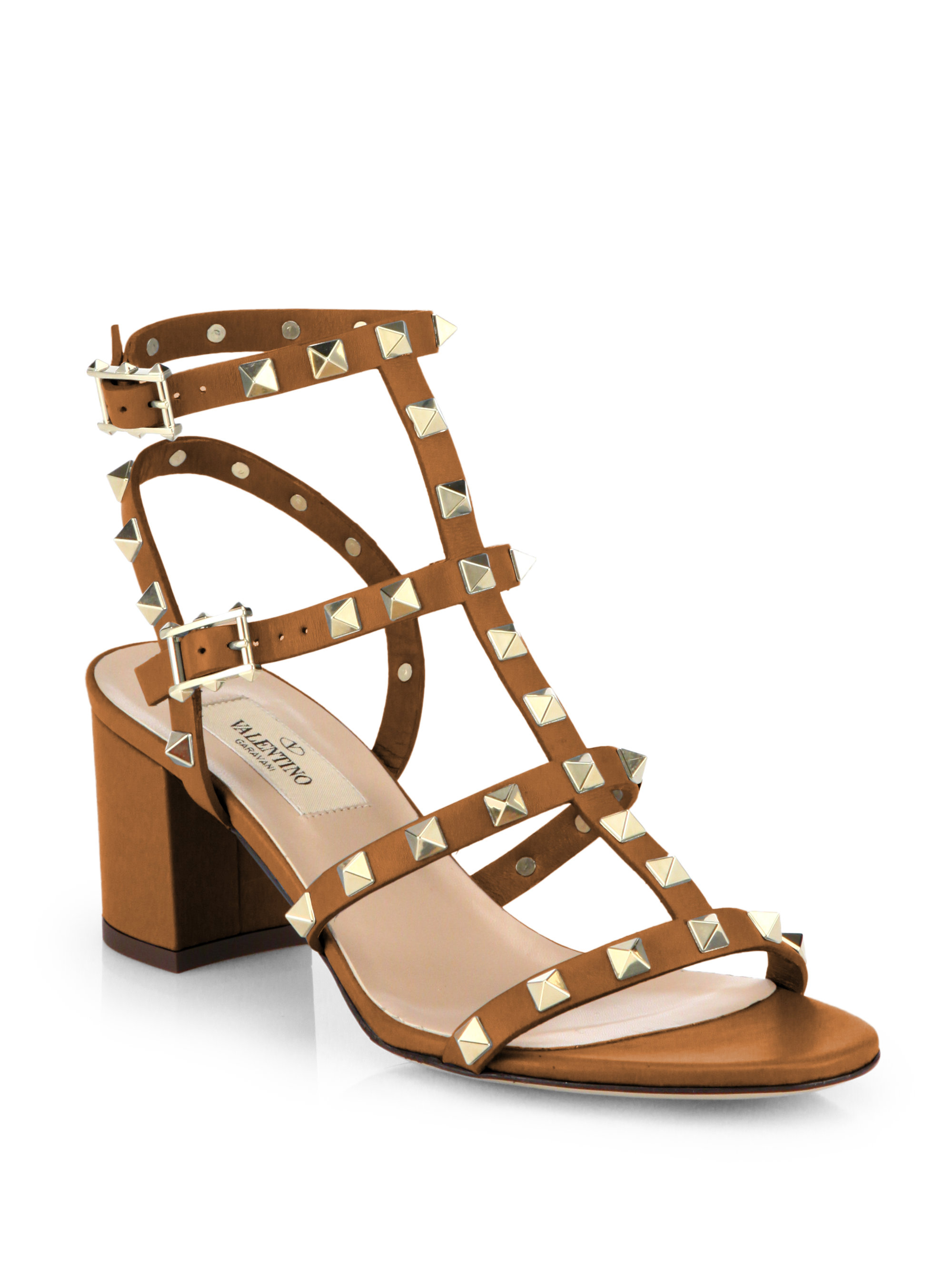 Valentino Rockstud Leather Sandals In Brown Lyst