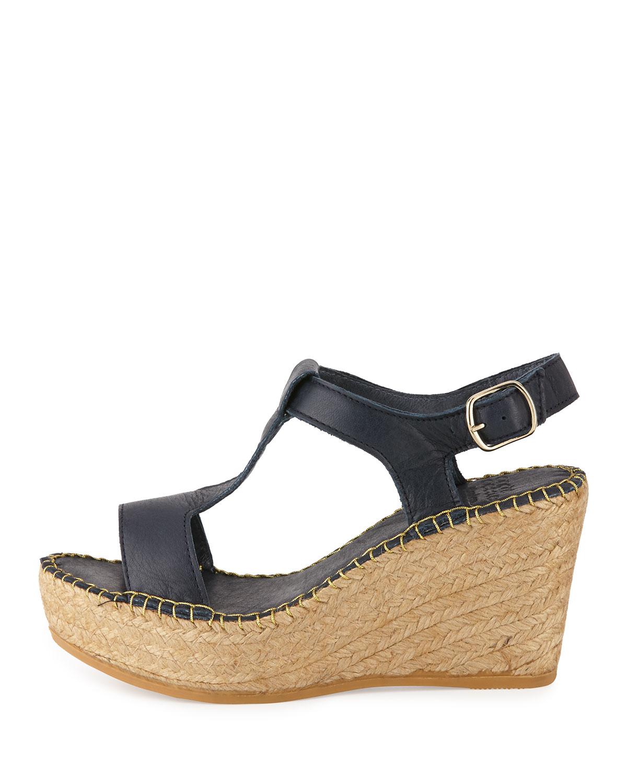 andre assous lemon leather wedge sandal in blue lyst