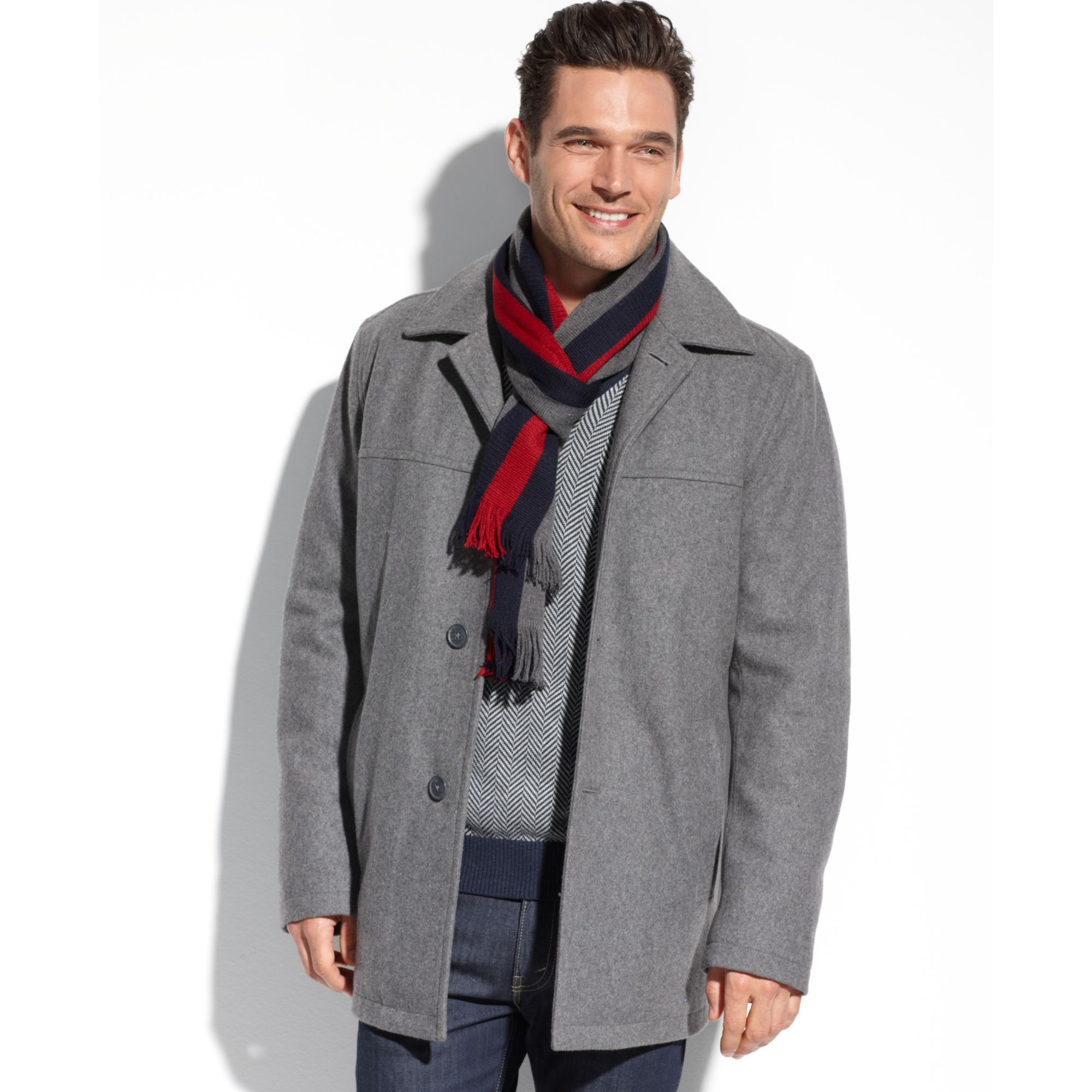 Tommy hilfiger Melton Wool Walking Coat in Gray for Men | Lyst
