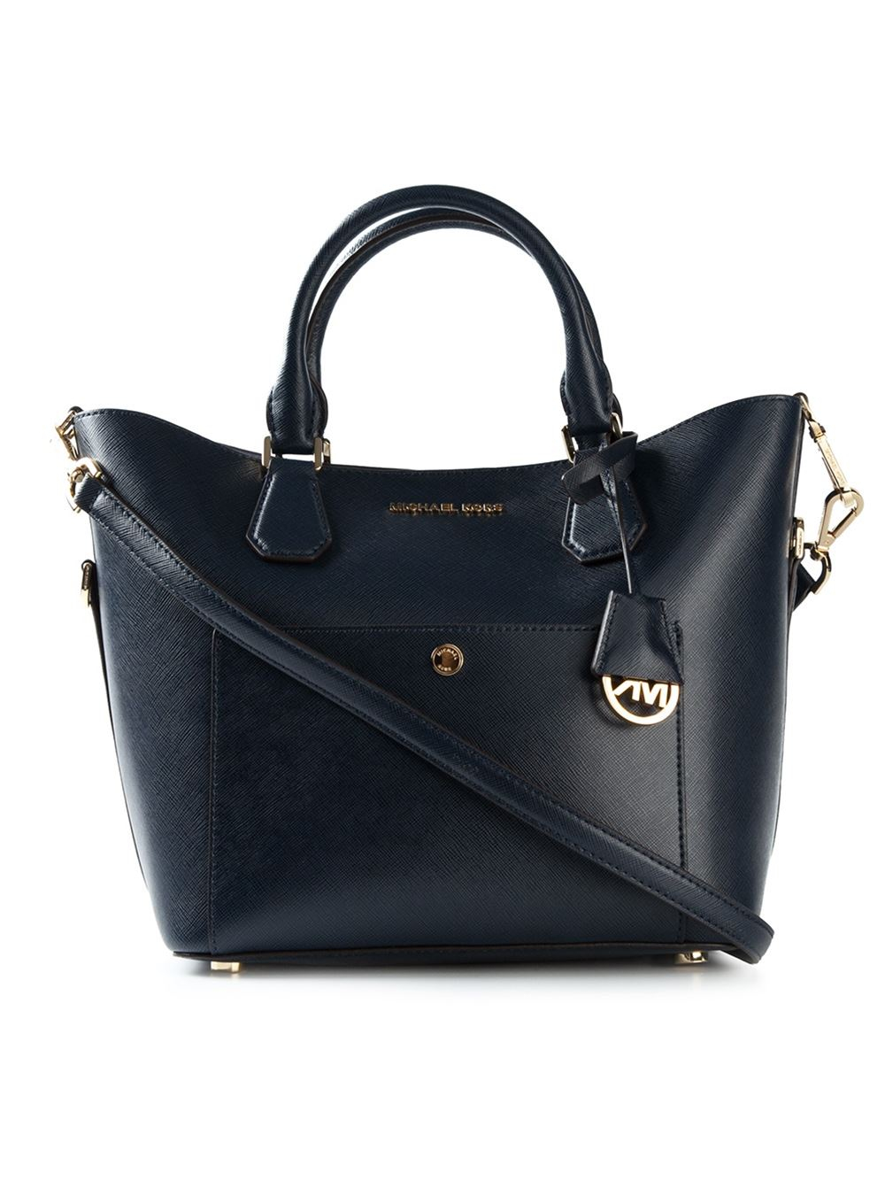 michael michael kors greenwich leather tote in blue lyst. Black Bedroom Furniture Sets. Home Design Ideas