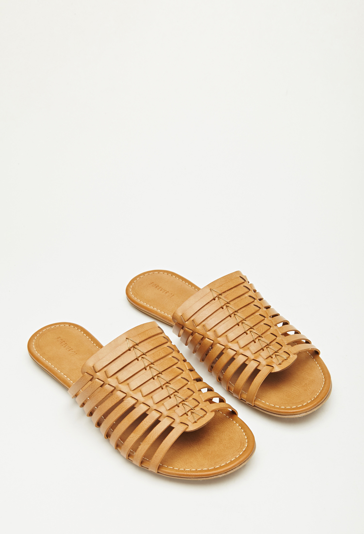 7100a4ab4eac Lyst - Forever 21 Faux Leather Huarache Sandals in Brown