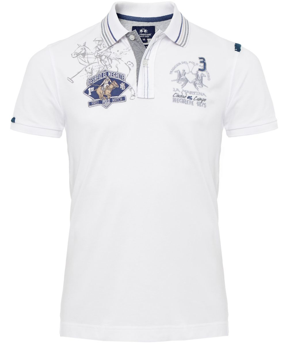 lyst la martina slim fit logo polo shirt in white for men. Black Bedroom Furniture Sets. Home Design Ideas