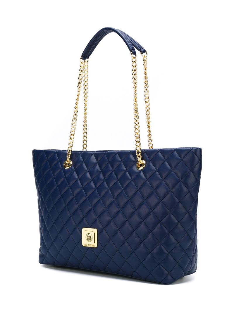 love moschino quilted shopper tote in blue lyst. Black Bedroom Furniture Sets. Home Design Ideas