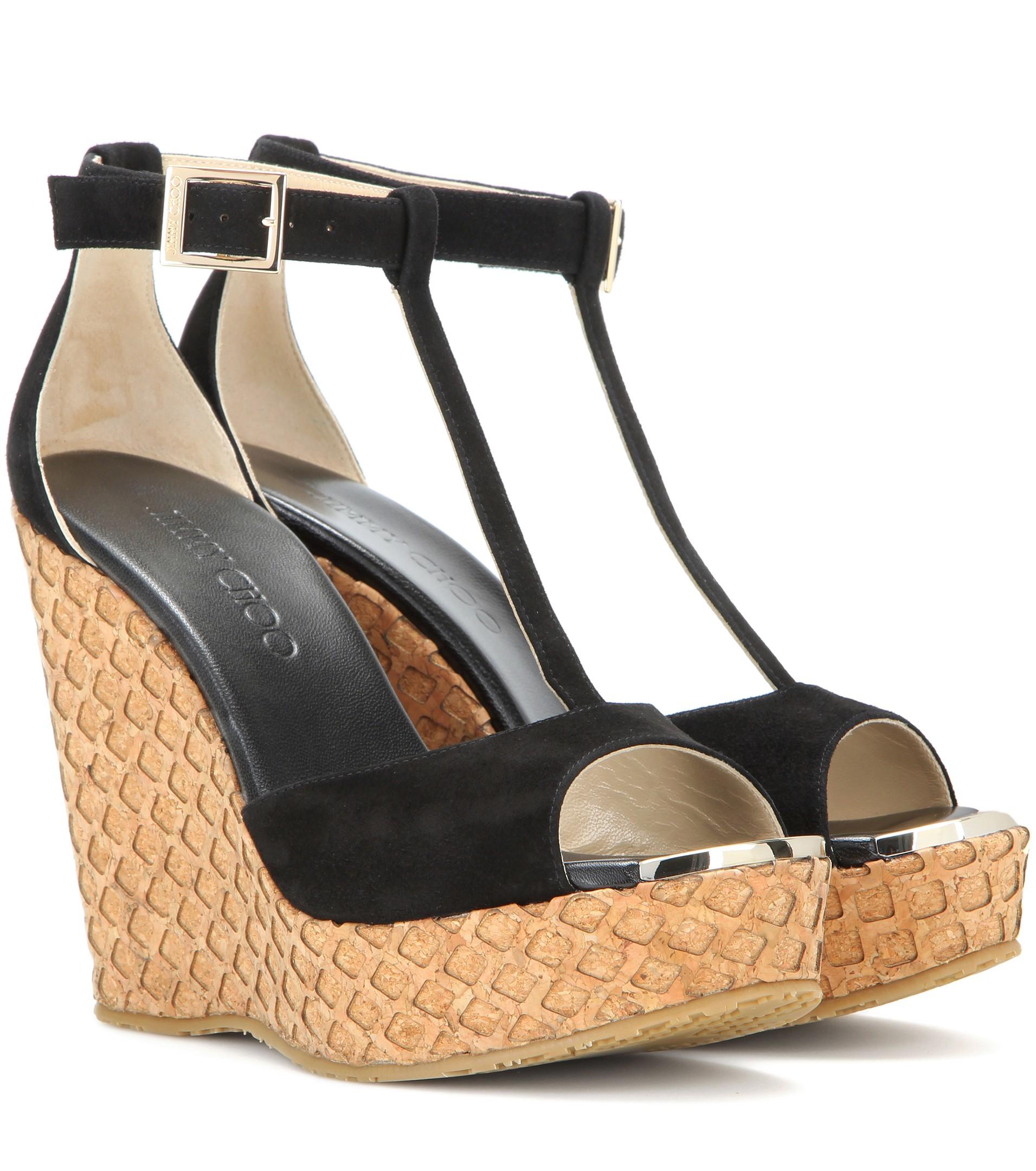 Jimmy Choo Portia Suede Wedge Sandals In Black
