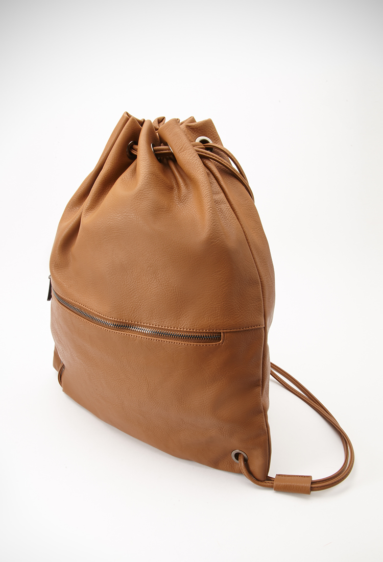 Forever 21 Faux Leather Drawstring Backpack in Brown | Lyst