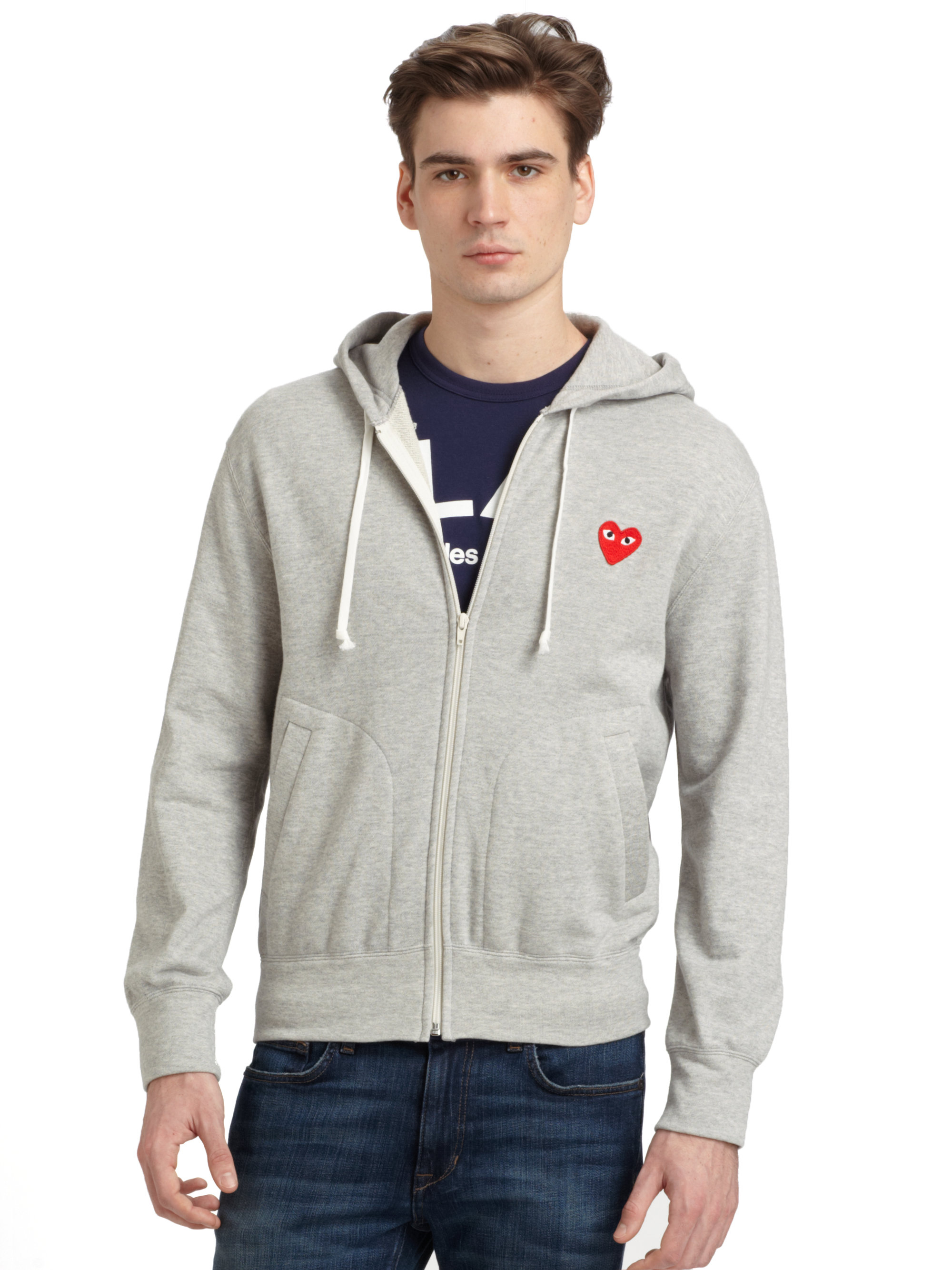 Play Comme Des Garons Zip up Cotton Hoodie In Gray For Men Lyst