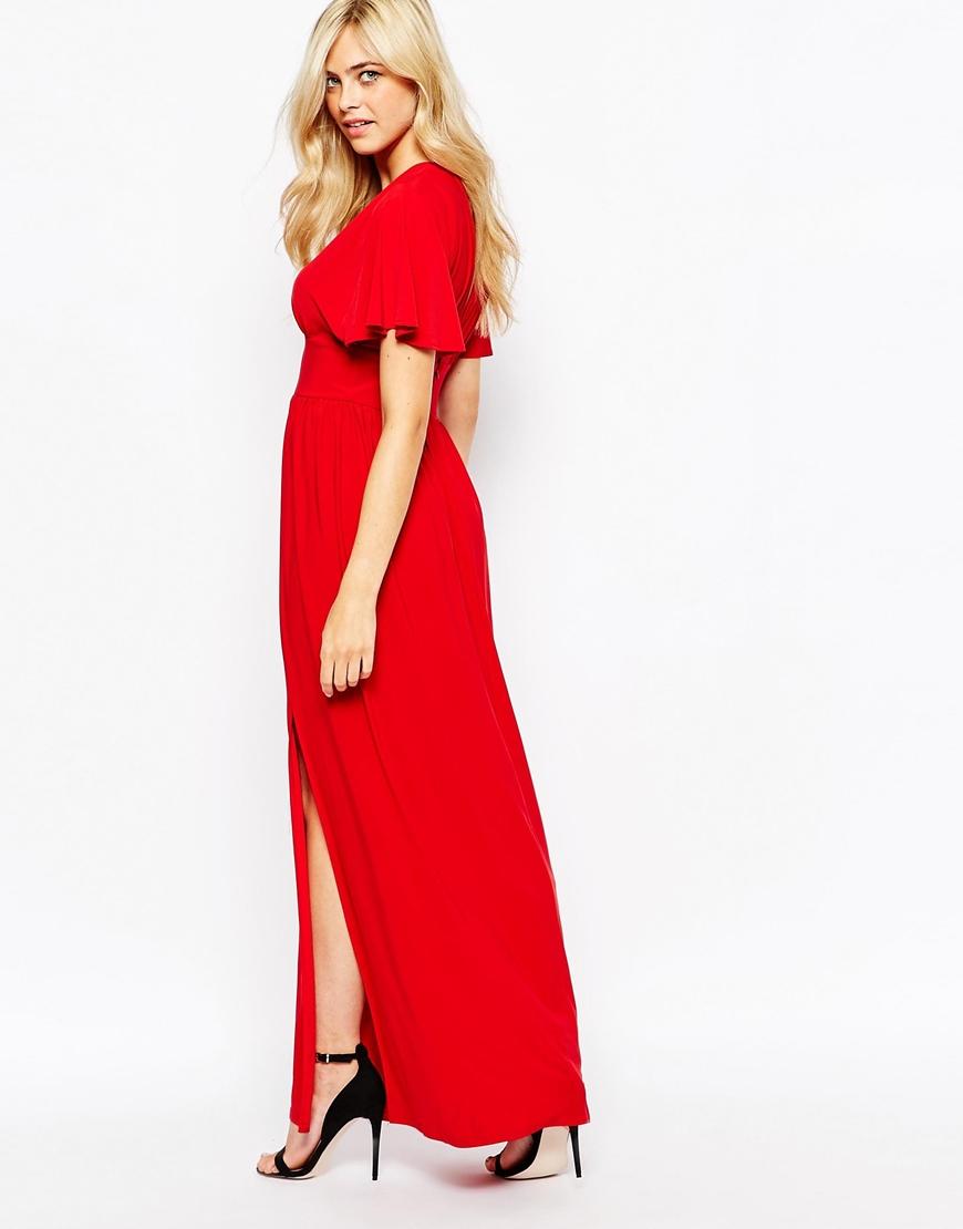 Love Kimono Sleeve Maxi Dress in Red | Lyst