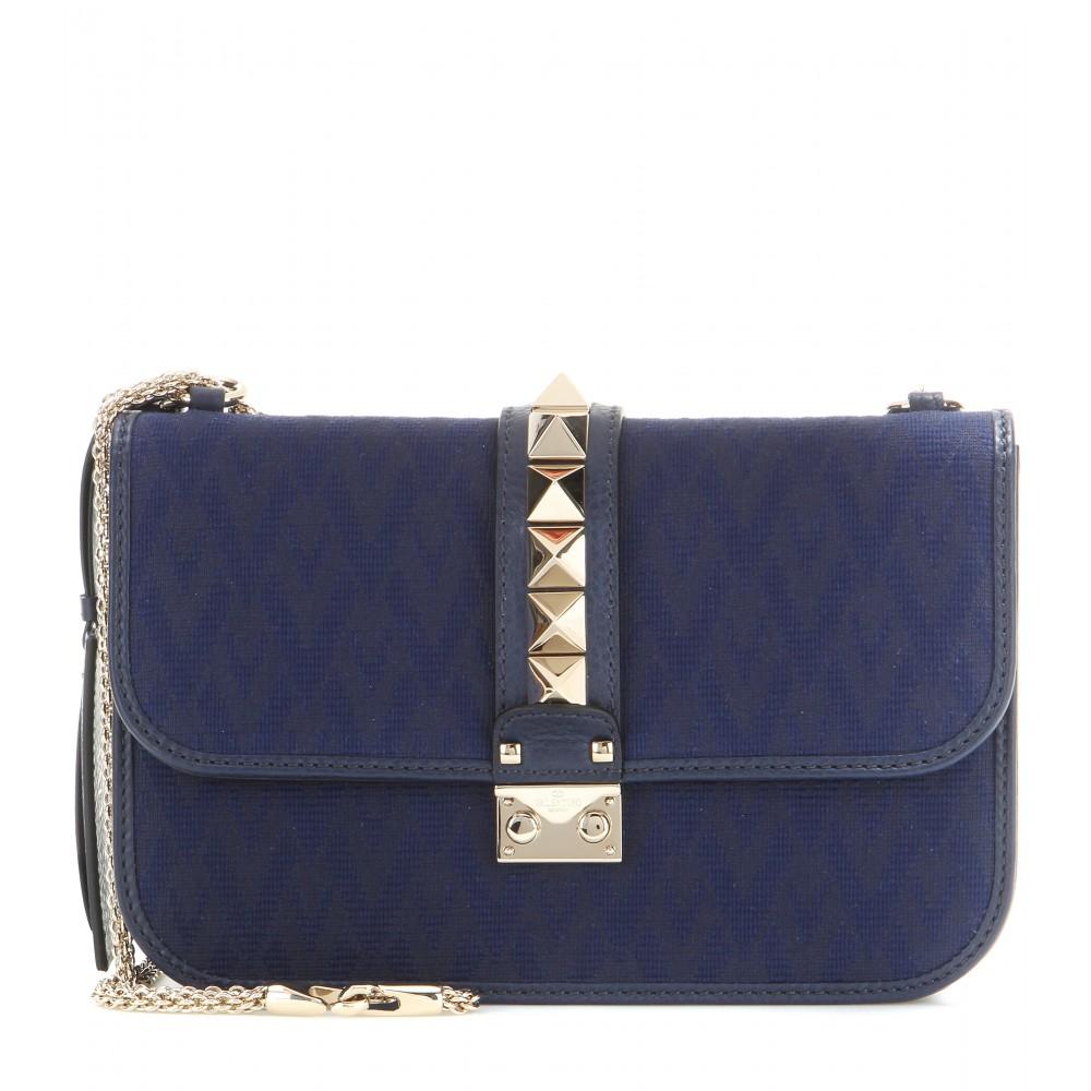 valentino lock medium jacquard and leather shoulder bag in blue lyst. Black Bedroom Furniture Sets. Home Design Ideas