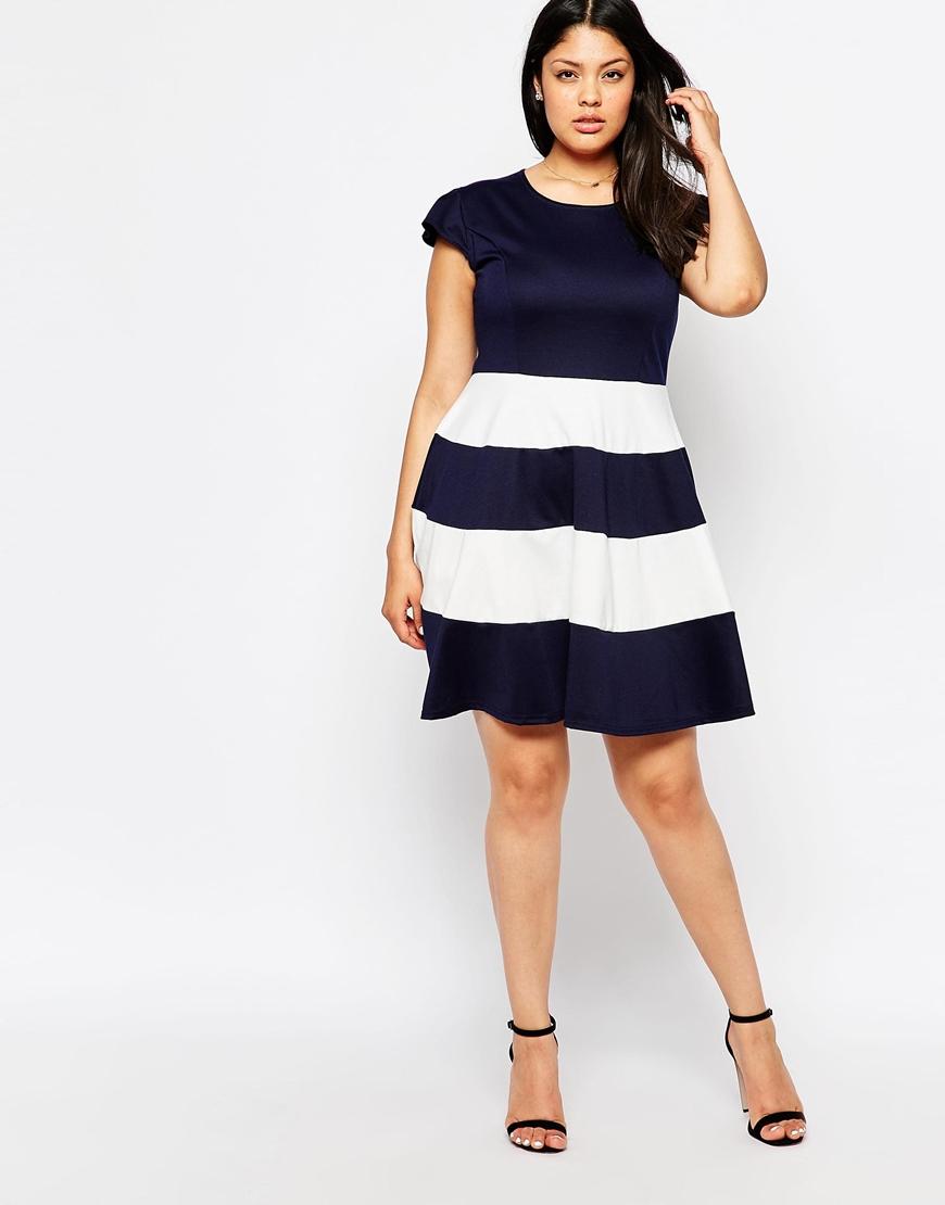 Lyst - Praslin Plus Size Skater Dress With Striped Skirt in Blue 30983c923