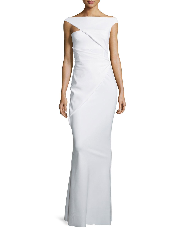 276fef262ec La Petite Robe Di Chiara Boni Asymmetric-sleeve Ruched Column Gown ...