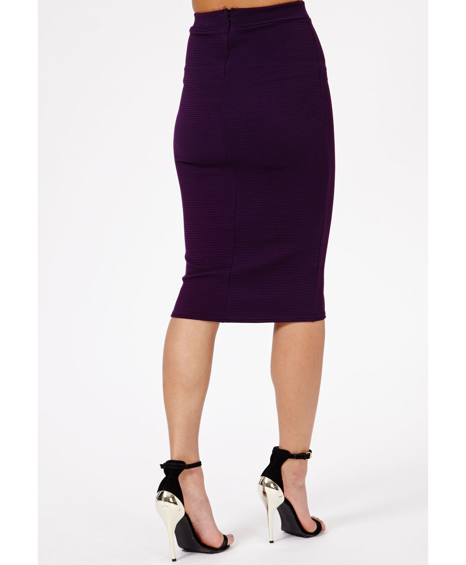 Missguided Jeania Ribbed Bodycon Midi Skirt in Plum in Purple | Lyst
