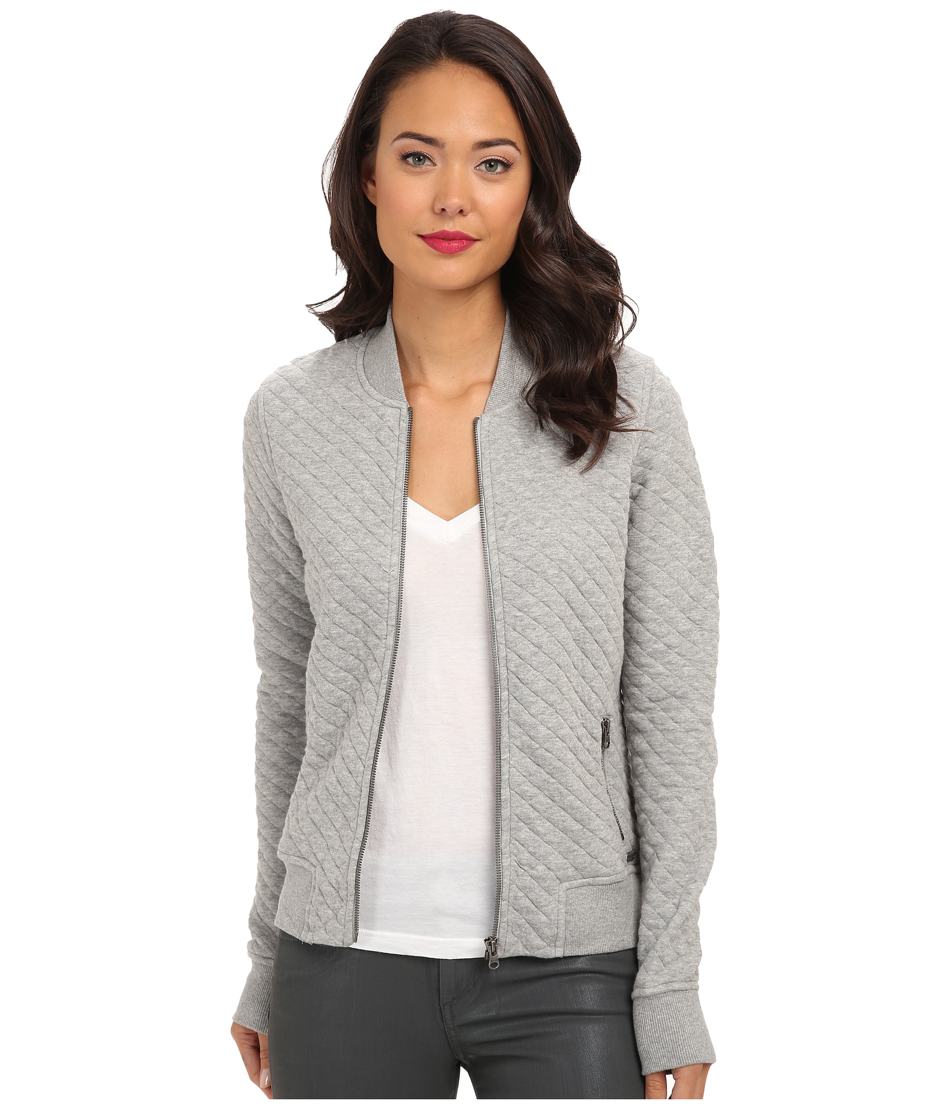 Converse Quilted Bomber Jacket in Gray | Lyst