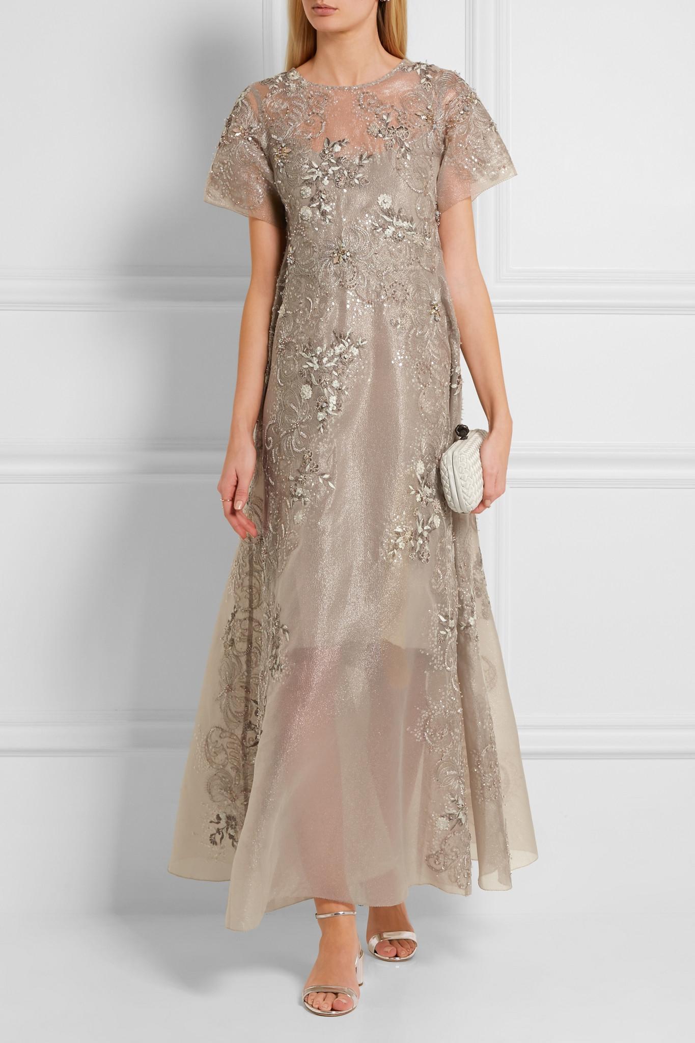 Lyst Biyan Gita Embellished Metallic Tulle Maxi Dress