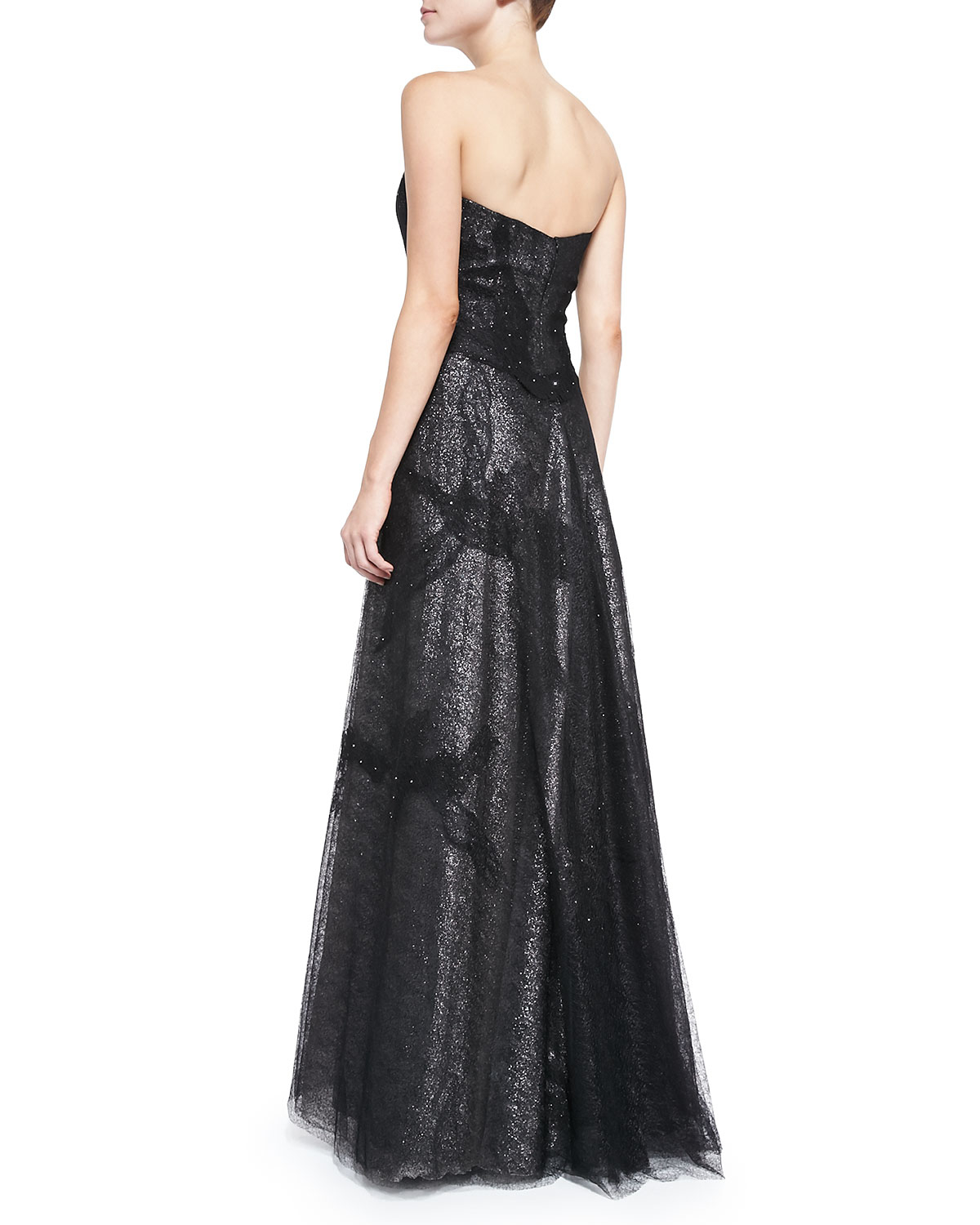 Lyst - Rene Ruiz Strapless Gown With Lace Overlay Skirt in ...