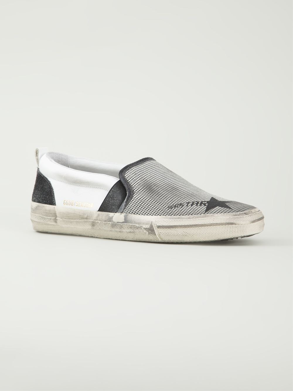 golden goose deluxe brand 39 seastar 39 slip on sneakers in silver white lyst. Black Bedroom Furniture Sets. Home Design Ideas