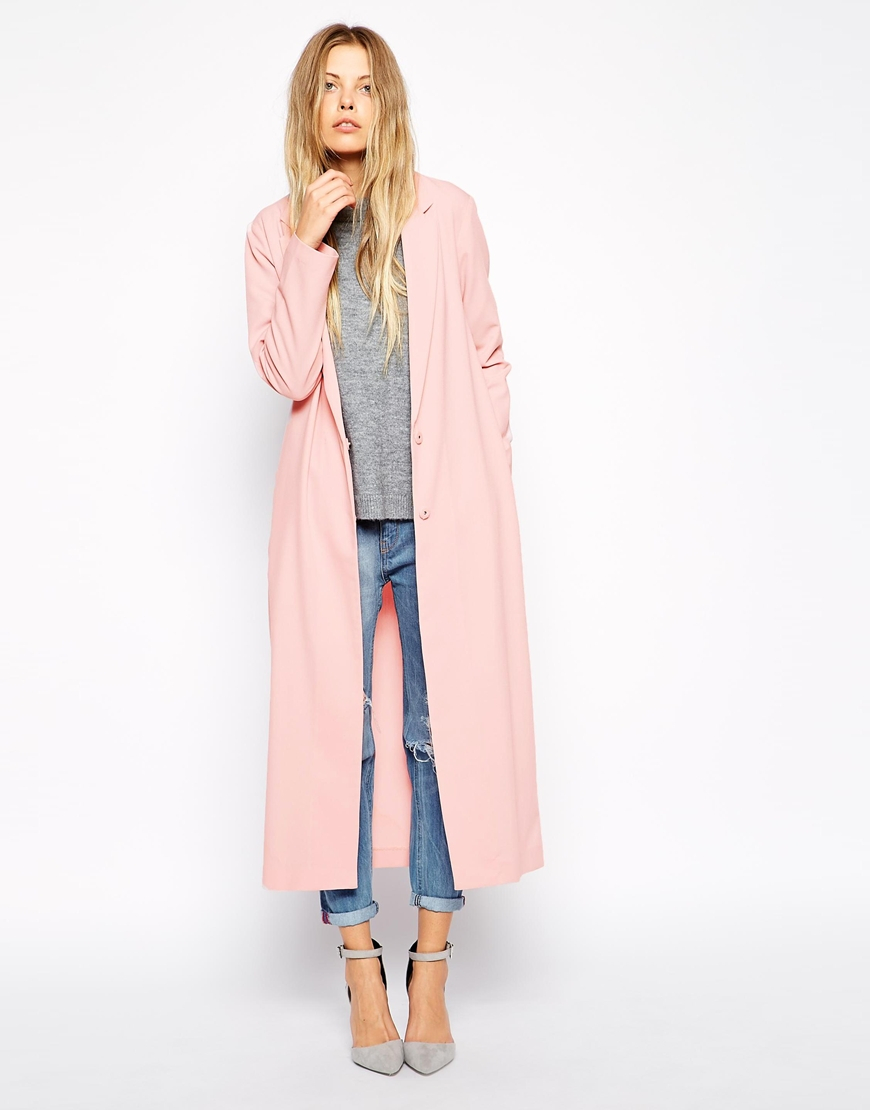 asos crepe duster jacket in maxi length in pink lyst. Black Bedroom Furniture Sets. Home Design Ideas