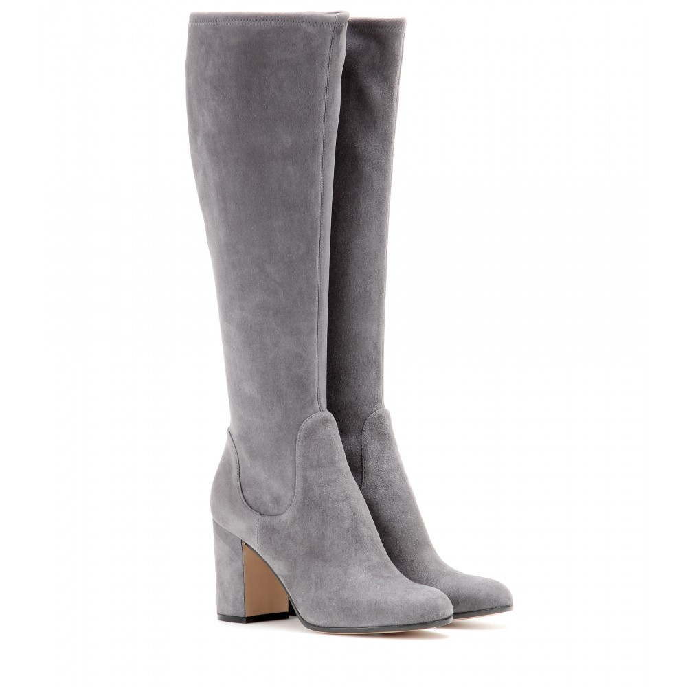 gianvito suede boots in gray lyst