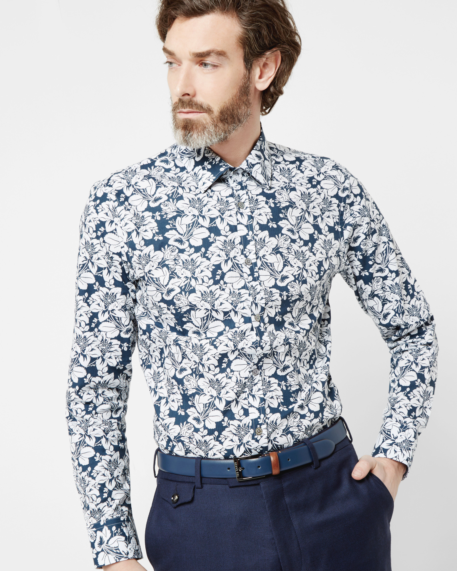 bfc13857a296f Lyst - Ted Baker Floral Print Cotton Shirt in Blue for Men