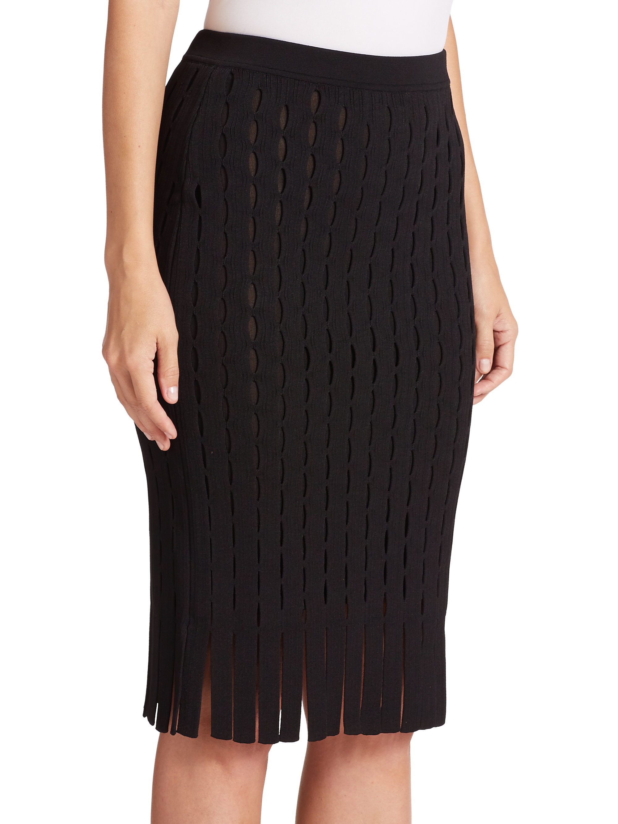 wang intarsia fringe knit pencil skirt in black