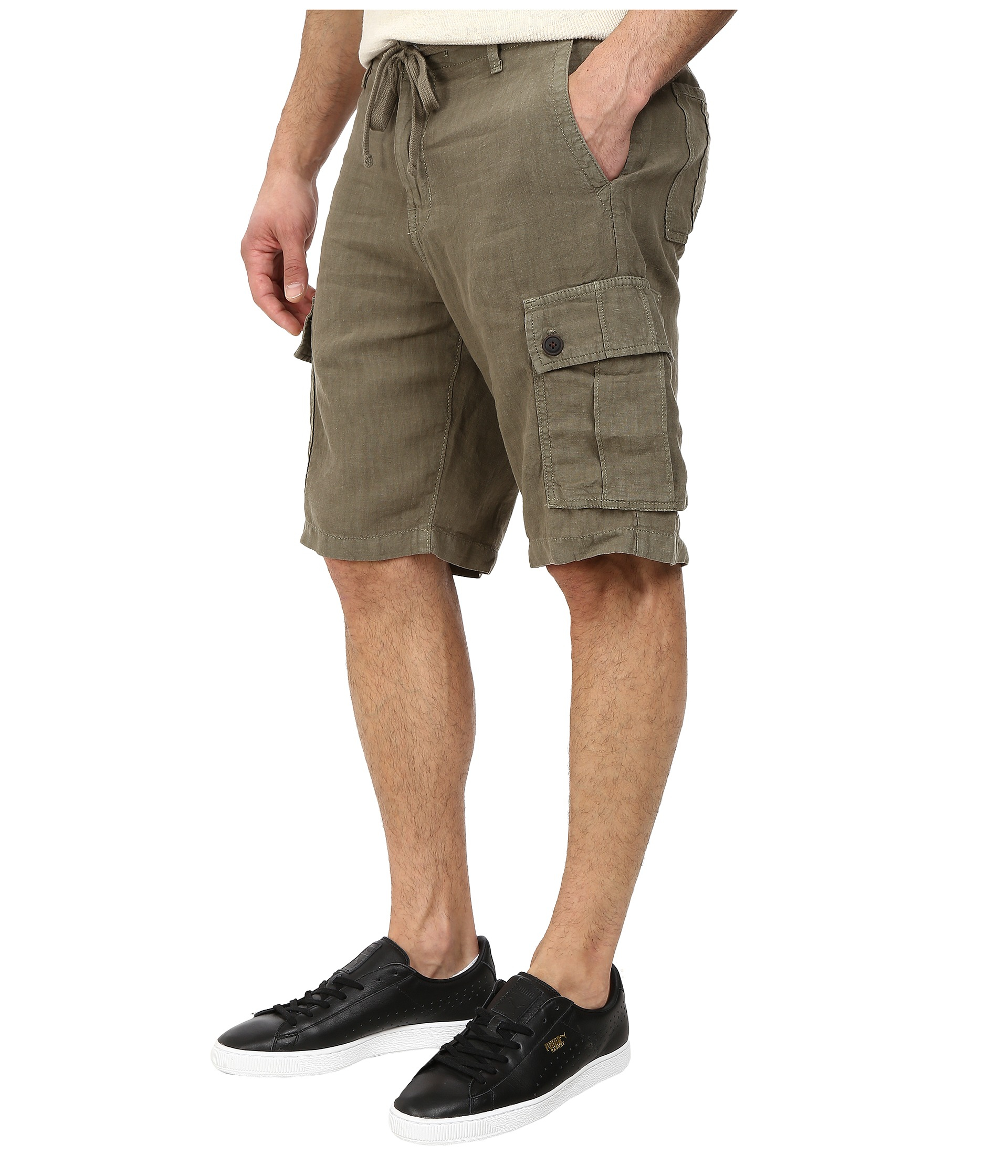 Lucky brand Newport Linen Cargo Shorts in Natural for Men | Lyst