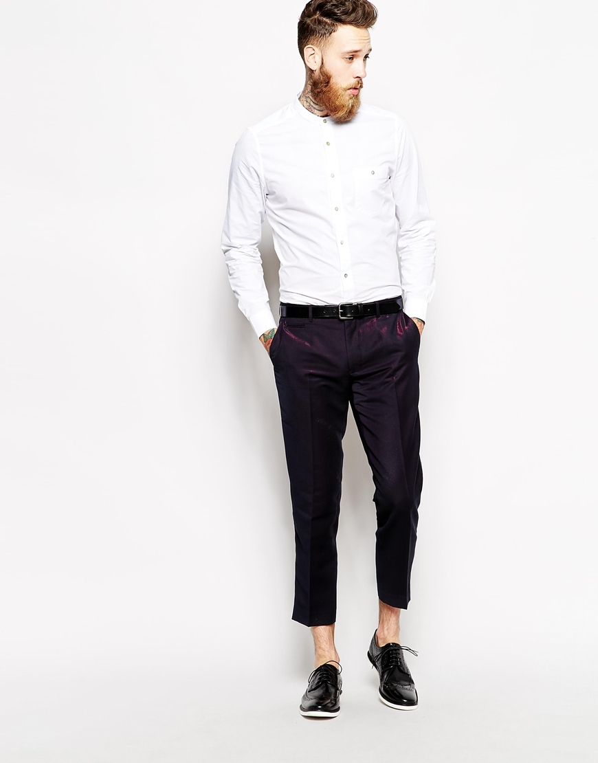 Asos Slim Fit Smart Cropped Trousers in Purple for Men | Lyst