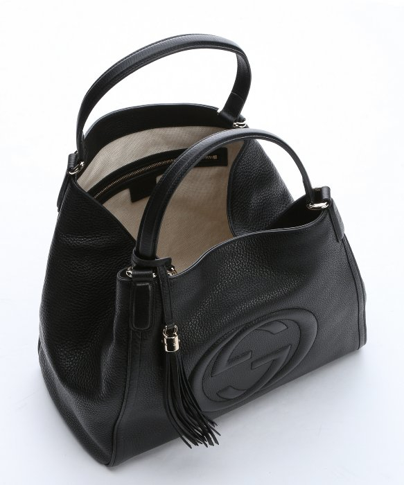 Gucci Black Leather Medium 'soho' Hobo Shoulder Bag in Black | Lyst