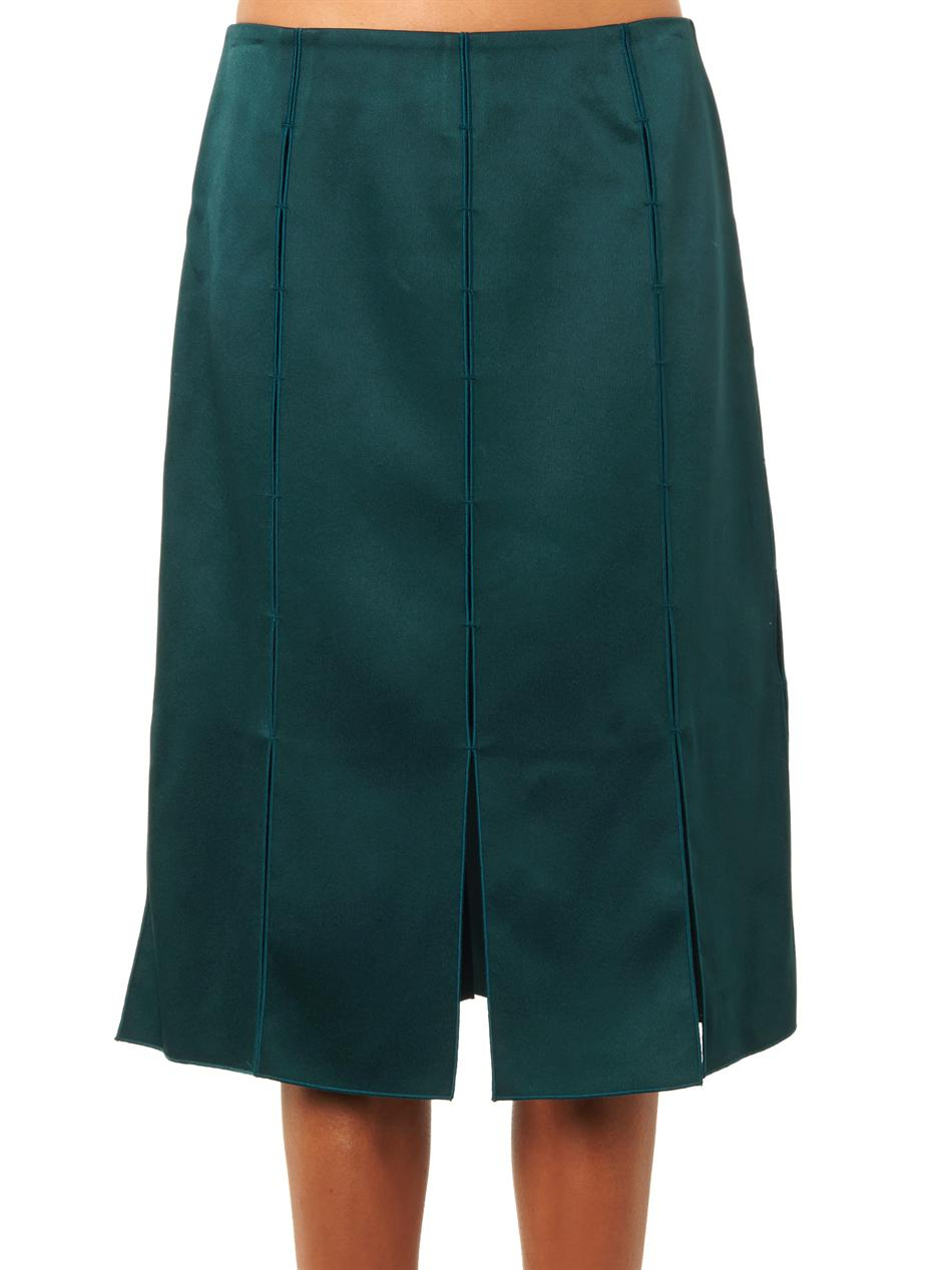 derek lam split detail midi skirt in green lyst