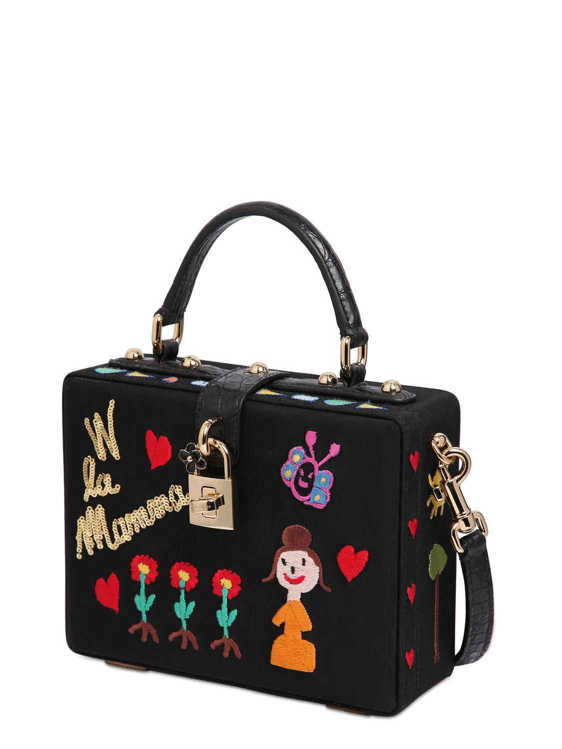 7abc65a531b4 Lyst - Dolce   Gabbana Dolce Box Embroidered Grosgrain Bag in Black