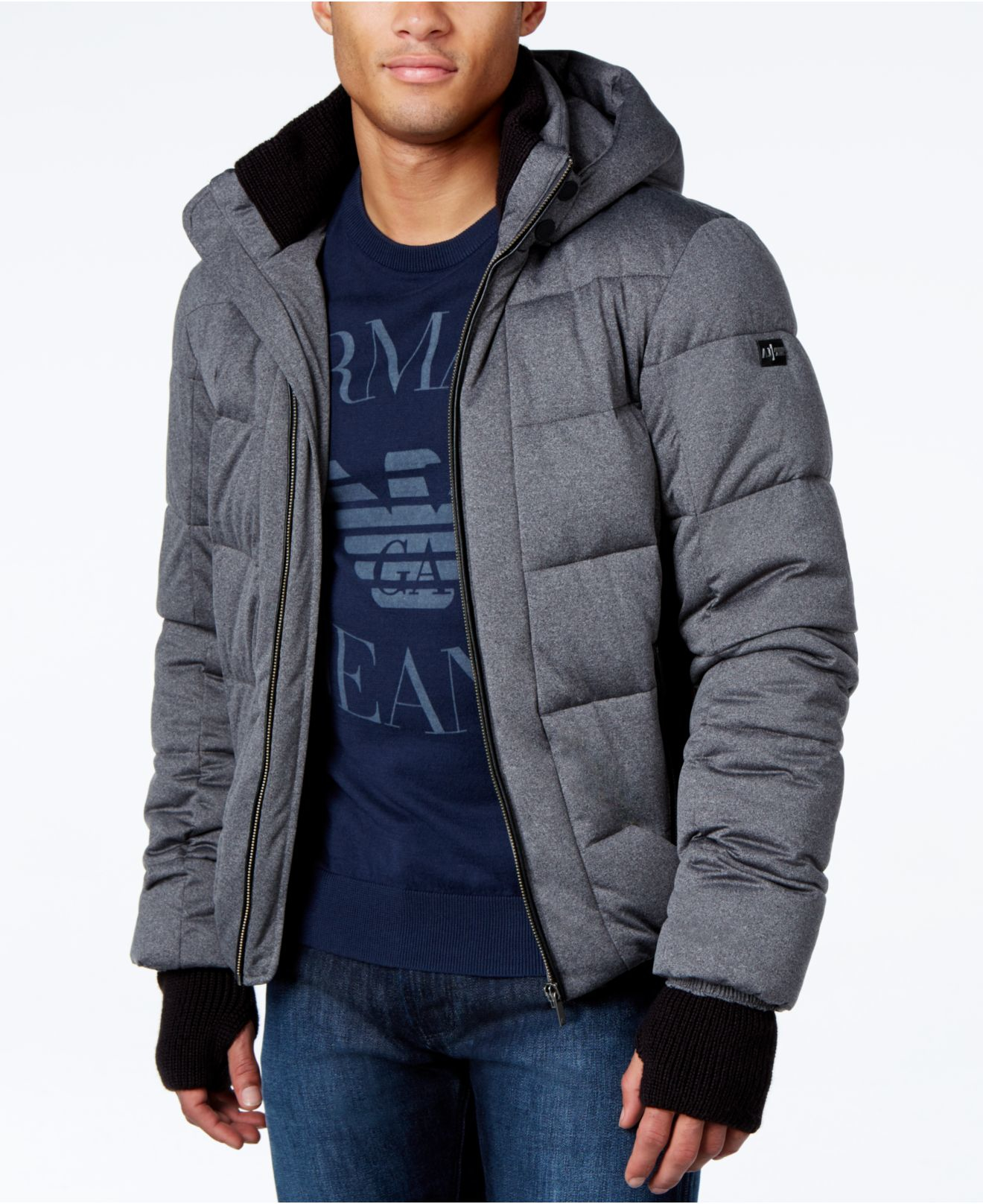 lyst armani jeans quilted ribbed trim puffer coat with. Black Bedroom Furniture Sets. Home Design Ideas
