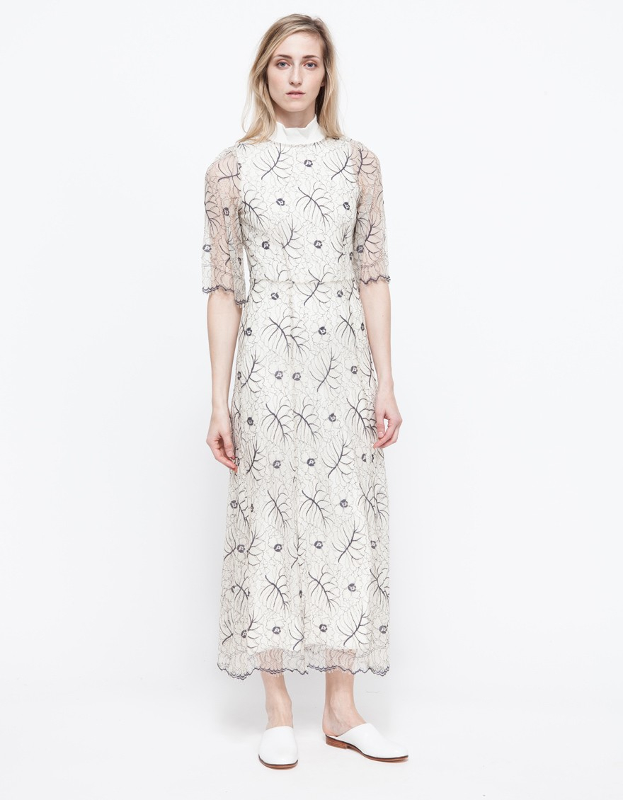 Ganni California Lace Dress in White | Lyst