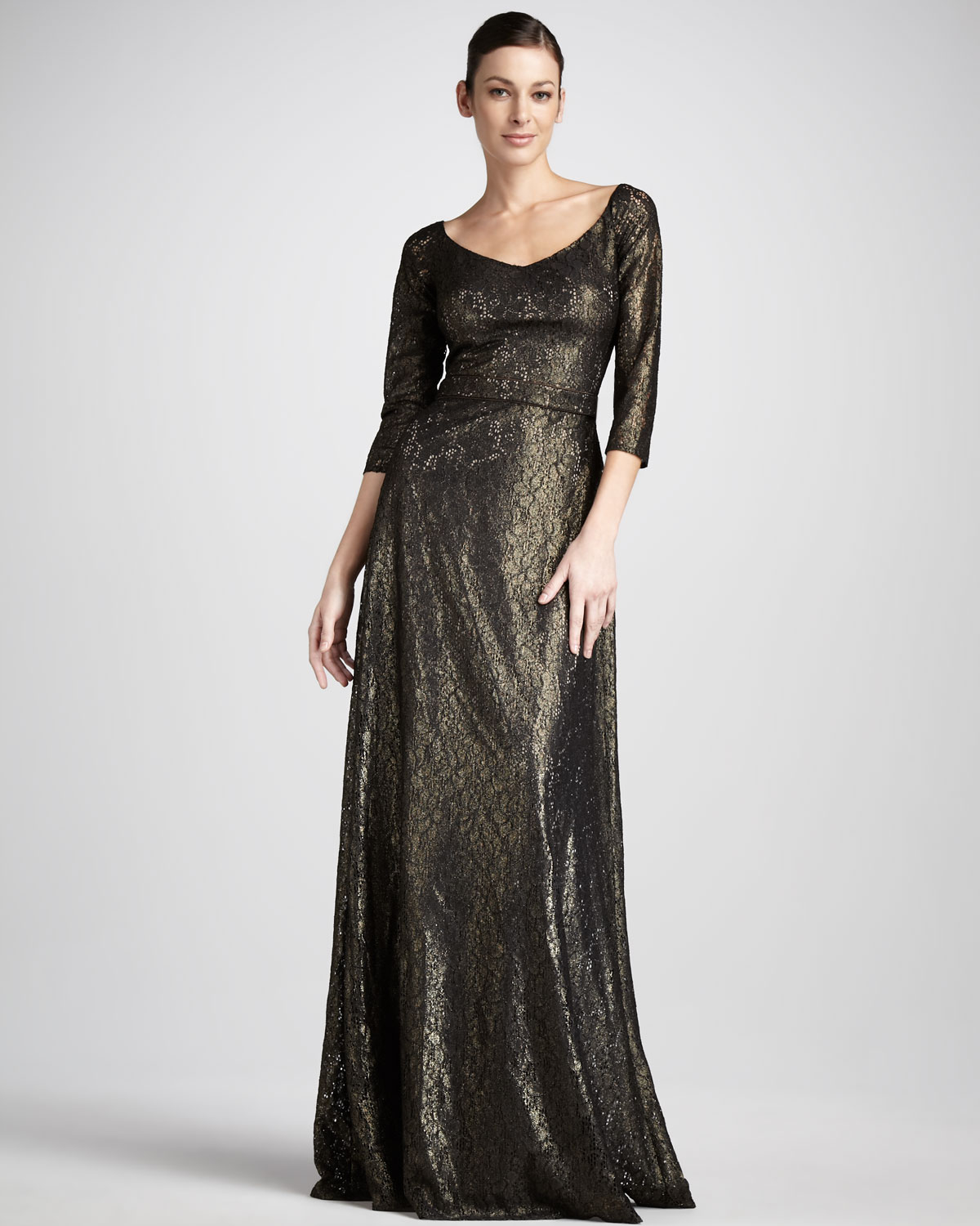 David Meister Metallic Lace Gown in Black - Lyst
