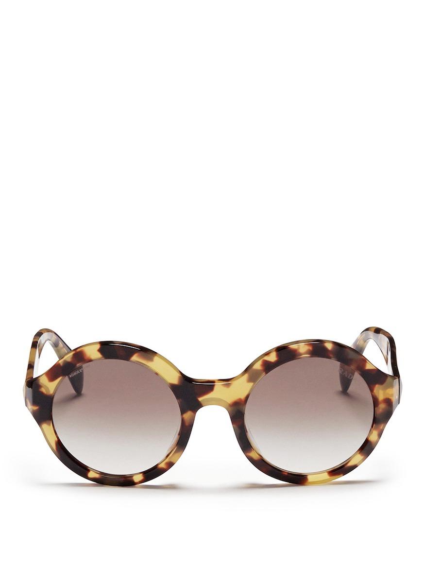 Prada Round Frame Tortoiseshell Plastic Sunglasses in ...