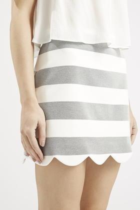 35f1a72cf TOPSHOP Striped Scallop Hem Mini Skirt in Gray - Lyst