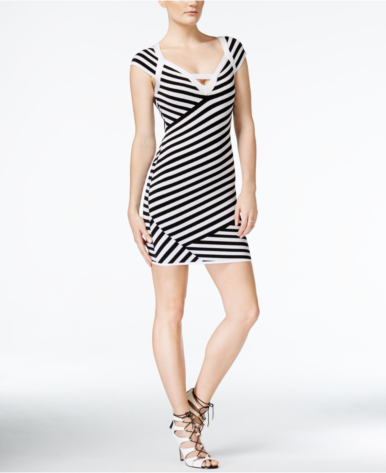 Guess Brandi Cap Sleeve Striped Dress In Gray Lyst
