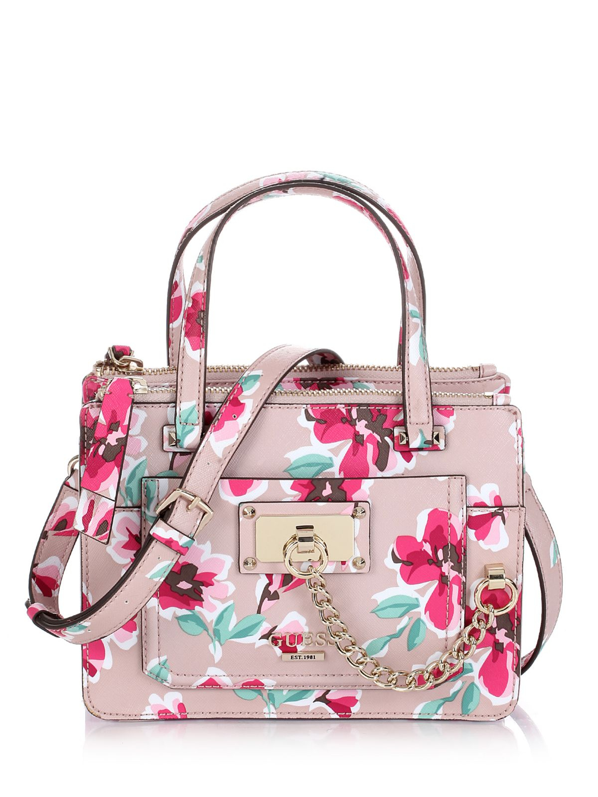 Guess Forget Me Not Little Status Satchel Floral Bag | Lyst
