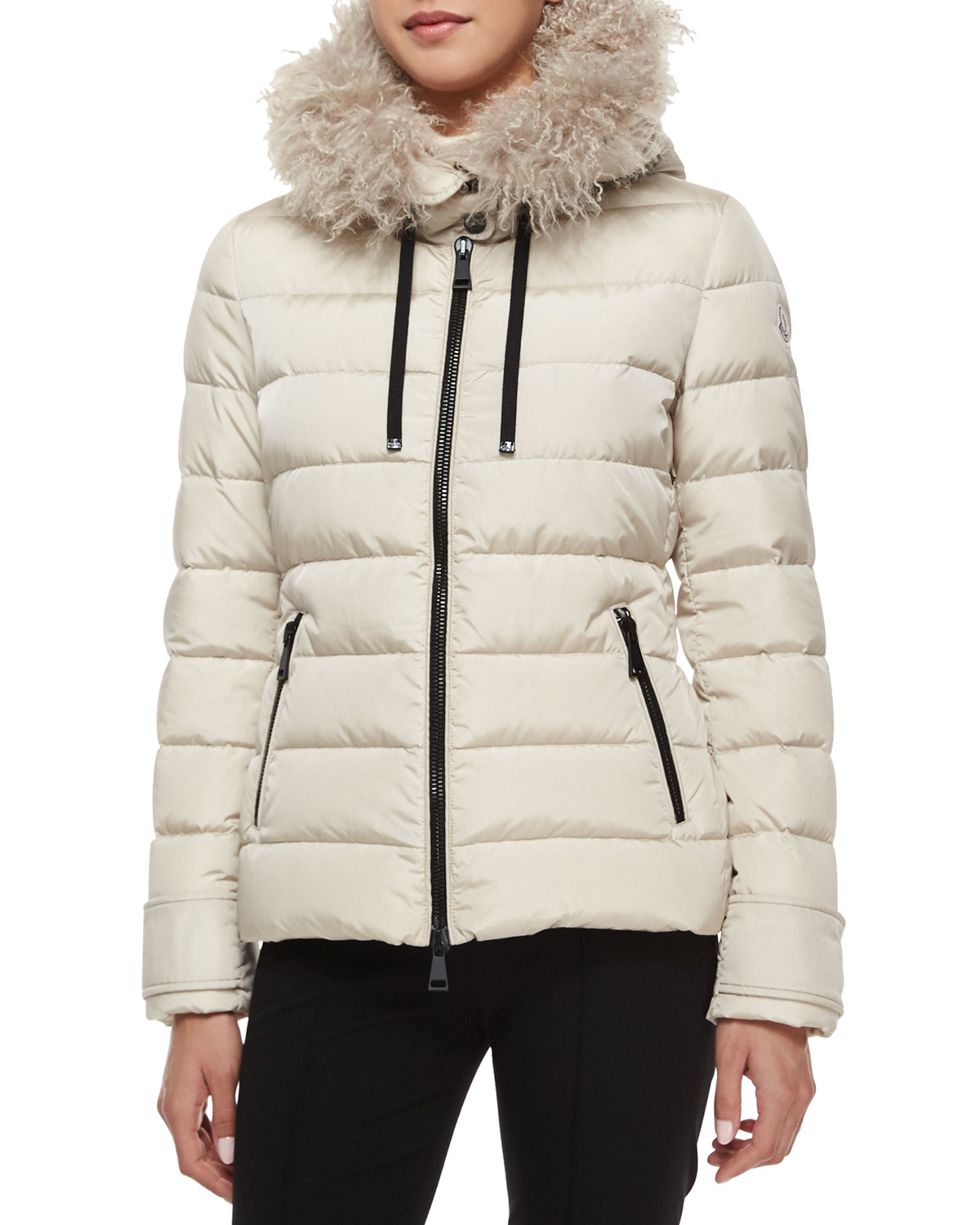 moncler fur trimmed hooded long puffer coat