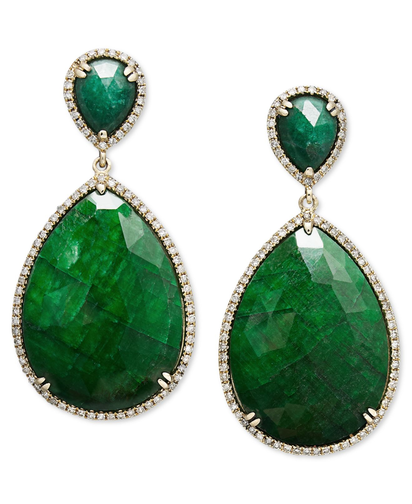 lyst macy 39 s 14k gold earrings dyed green corundum