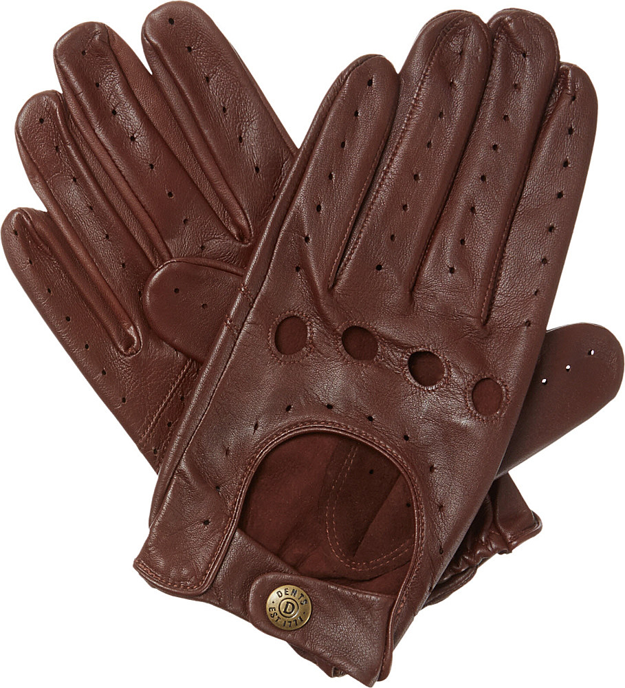 Red leather driving gloves mens - Dents Brown Leather Driving Gloves For Men Lyst