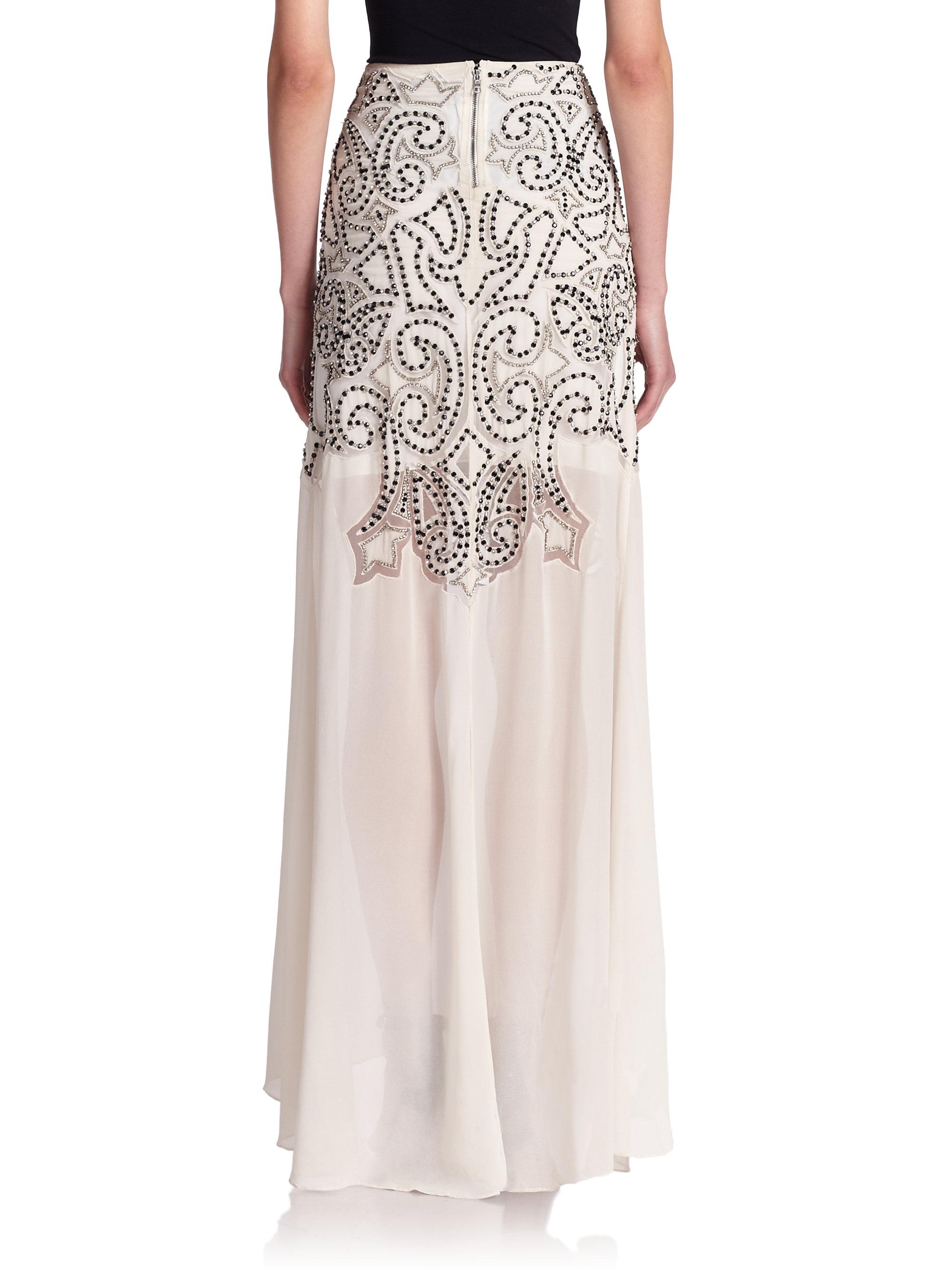 3855763c33 Alice + Olivia Rizo Beaded Maxi Skirt in White - Lyst