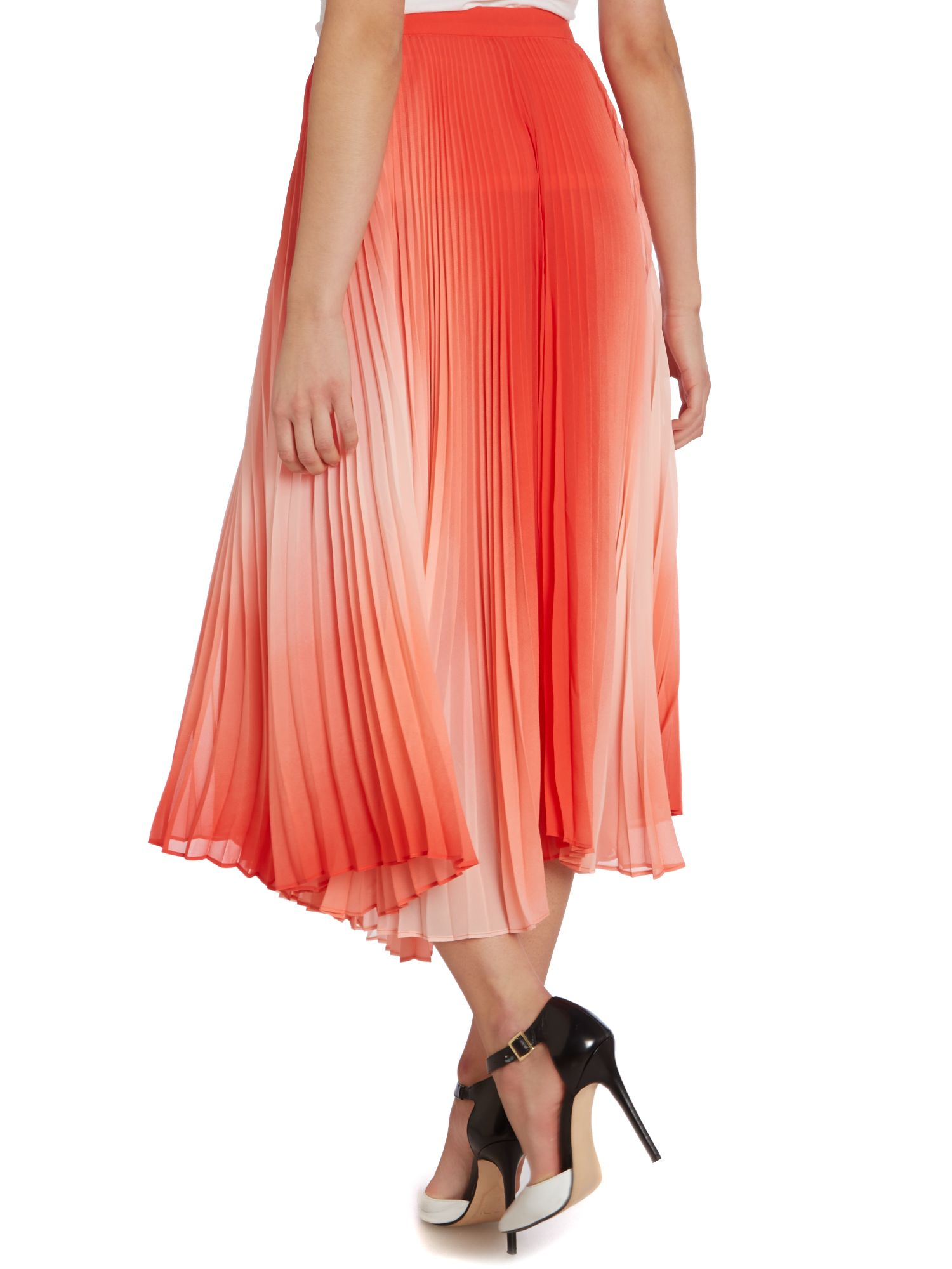 vince camuto pleated ombre maxi skirt in lyst