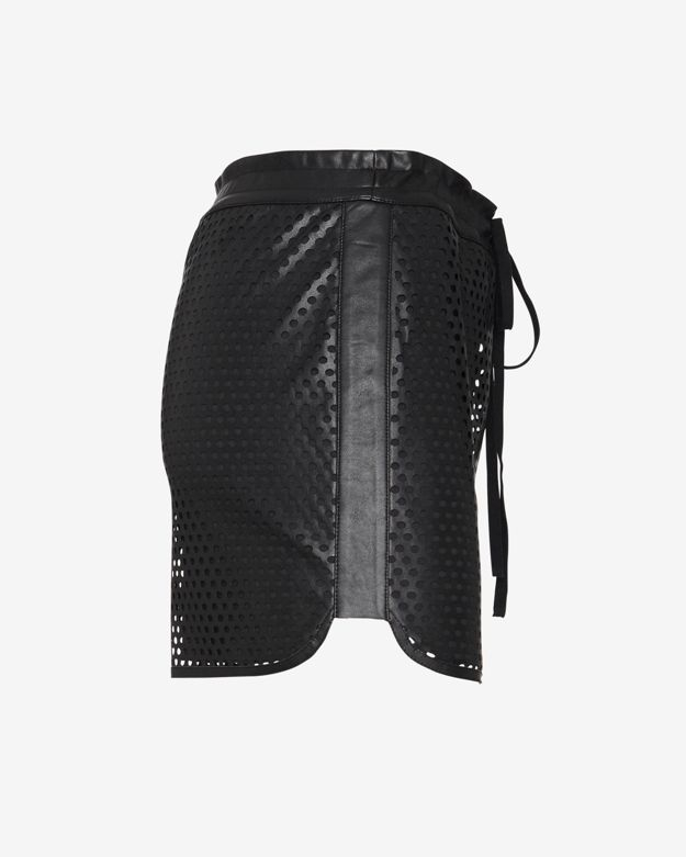 bailey 44 exclusive perforated leatherlike tennis skirt in