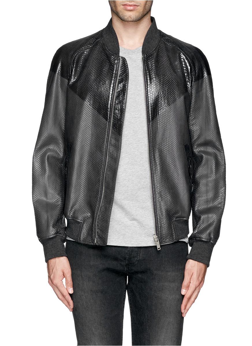 daa3e090d07 Lyst - Alexander McQueen Two-tone Python Bomber Jacket in Gray for Men