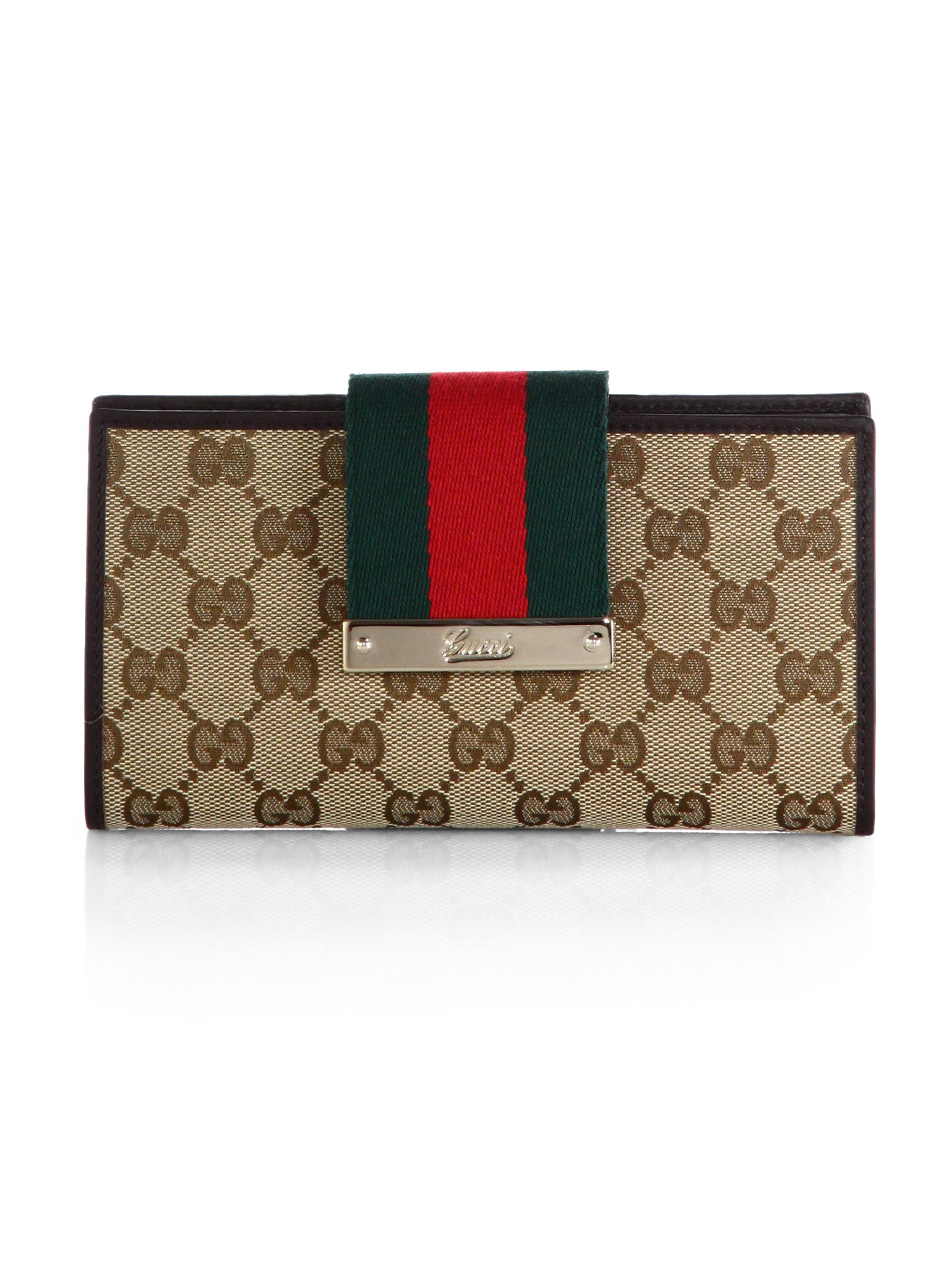 34e4b4b18eaa Gucci Ladies Web Original Gg Canvas Continental Wallet in Green - Lyst