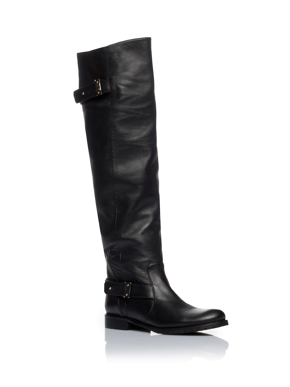 patrizia pepe flat thigh high boots in leather in black