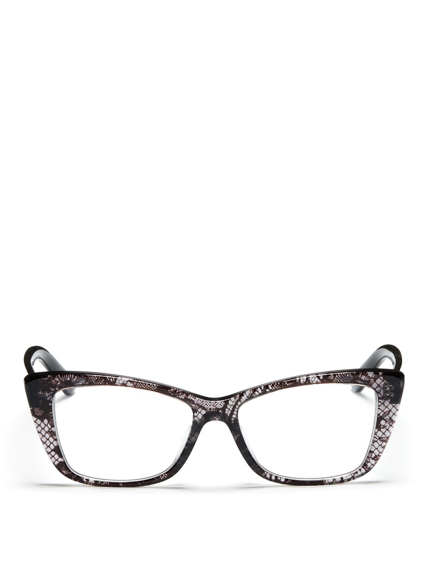 Lyst - Valentino Lace Cat Eye Optical Glasses in Black