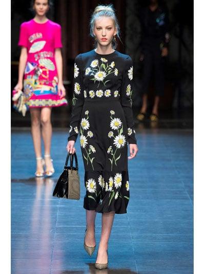 0950cf53 Dolce & Gabbana Daisy Printed Silk Charmeuse Dress in Black - Lyst